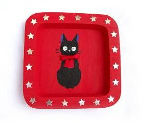 ON SALE Black Cat Decorative Plate, handmade, handpainted, Wooden, OOAK