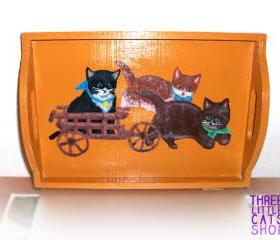 ON SALE Serving Tray, Handpainted, Handmade, OOAK, Wooden, Cats, Vintage