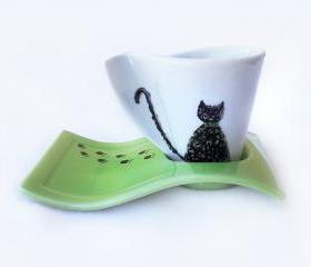Porcelain Espresso Cup, Cat lovers cup, Hand Painted, Green, Coffee Cup
