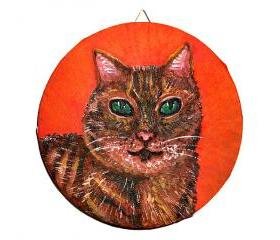Original Cat Painting, Tabby Cat Art, Cat Portrait, Acrylic Painting, Ready to hang