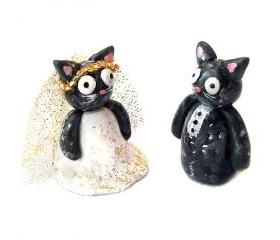 Cat Cake Topper, Wedding Cake Topper, Polymer Clay Cat Cake Topper, Kitty Cake Topper