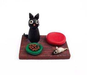 Black Cat Figurine, Handmade Polymer Clay Miniature OOAK Cat Sculpture