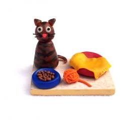 Tabby Cat Figurine, Handmade Polymer Clay Miniature OOAK Cat Sculpture