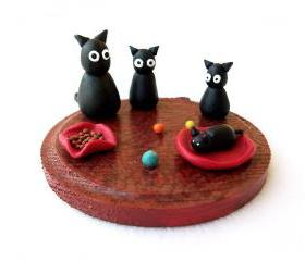 Cats Family Miniature, Handmade Polymer Clay Figurine OOAK Cat Sculpture