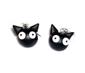 Black Cat Polymer Clay Earrings, Cats, Cute, Kawaii, Gift Idea