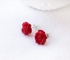 On sale - Red Rose Stud Earrings, Polymer Clay, Handmade, Nickel Free, with GIFT BOX