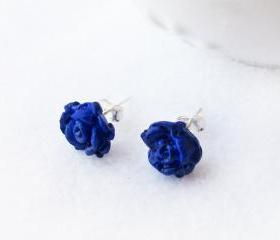 On sale - Blue Rose Stud Earrings, Polymer Clay, Handmade, Nickel Free, with GIFT BOX