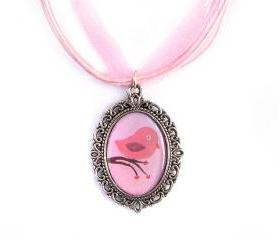 Love Bird Cameo Necklace, Silver Plated, Pink Bird Pendant, Pink Organza, Love Gift