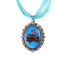 Love Owls Necklace, Cameo, Silver Plated, Owl Couple Pendant, Turquoise Organza, Love Gift