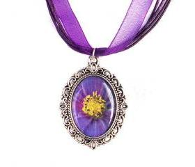 Purple Flower Cameo Necklace, Photo Pendant, Resin, Silver Plated, Purple Organza