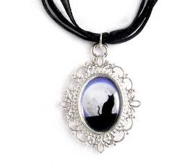 Cat by the Moon Cameo Necklace, Silver Plated, Cat Pendant, Black Organza, Gift Idea
