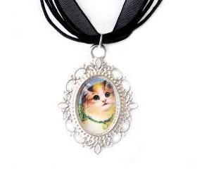 Cat Cameo Necklace, Silver Plated, Cat Pendant, Vintage, Black Organza, Gift Idea