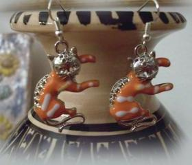 Cats Earrings, 18K white gold plated, handmade, OOAK, orange