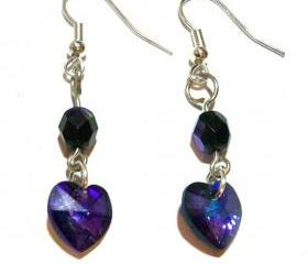 Swarovski Earrings, Purple, Heart, Handmade, OOAK