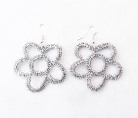 Crochet Flower Earrings Silver Shiny Sparkly Elegant Bridal Chic Cocktail Party
