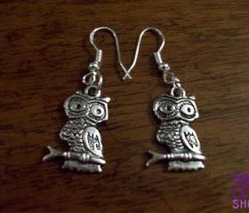 Owl earrings - 925 silver findings - tibetan silver charm