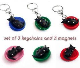 SET OF THREE Polymer Clay Cat Key Chains and Magnets, Baby Cat Miniature, Clay Cat Sculpture, Cat Figurine, Puppy Kennel